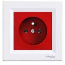 Gniazdo poj. z/u z ramką, czerwono-białe EPH2800421