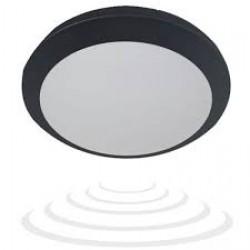 Plafon BRYZA ECO LED z czujnikiem mikrofalowym, 60 SMD2835, czarny, IP66, 25000h, poliwęglan mleczny