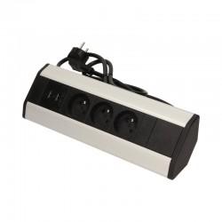 GNIAZDO MEBLOWE ORNO 3x2P+Z 230VAC +USB