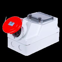 Zestaw instalacyjny z gniazdem 16A 5P (szyna TH) czerwony