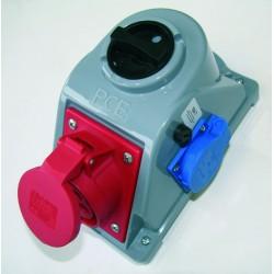Zestaw instalacyjny z gniazdem 16A 5P+2x2P+Z 0-1 czerwony