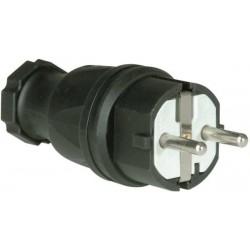 Wtyczka sieciowa PCE 0511-s gumowana IP44 250 V / 16 A, czarna