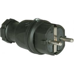Wtyczka sieciowa PCE 0512-s gumowana IP44 250 V / 16 A, czarna