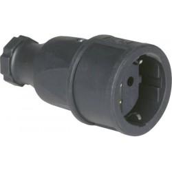 Gniazdo sieciowe PCE 2520-s gumowane IP20 250 V / 16 A, czarne