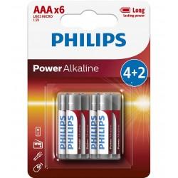BATERIA POWER ALKALINE LR03 B6 LR03P6BP/10 PHILIPS   1 szt/