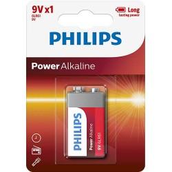 BATERIA POWER ALKALINE 6LR61 9V 6LR61P1B/10 PHILIPS1 szt.