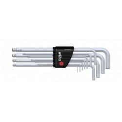 Zestaw kluczy trzpieniowych w uchwycie Compact Sześciokątny z główką kulistą chromowany matowo 11-cz.