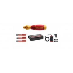 Wkrętak elektryczny zestaw 1 speedE® płaski, Phillips, PlusMinus/Pozidriv 10-cz. w skrzynce L-Boxx Mini z bitami slimBit, bat