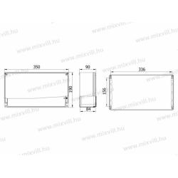 ALUBOX-522H Aluminiowa skrzynka z pokrywą na zawiasach IP67 350x190x90mm