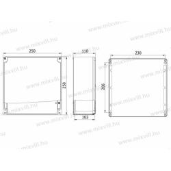 ALUBOX-524H Aluminiowa skrzynka z pokrywą na zawiasach IP67 250x250x110mm