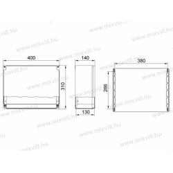 ALUBOX-530H Skrzynia aluminiowa z pokrywą na zawiasach IP67 400x310x140mm