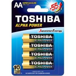 Bateria ultra alkaliczna LR6 / AA, 1.5V, ALPHA POWER 4 sztuki Toshiba