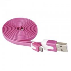 Przewód USB 2.0 wtyk A - wtyk micro B, 1m, różowy