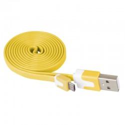 Przewód USB 2.0 wtyk A - wtyk micro B, 1m, żółty