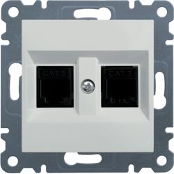 lumina 2 Gniazdo telefoniczne podwójne RJ11, biały